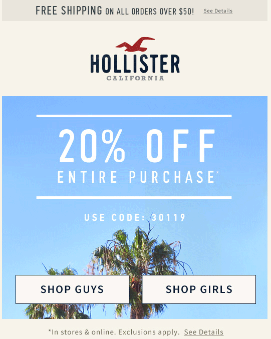 Hollister Coupon March 2017 20% off today at Hollister, or online via promo code 30119