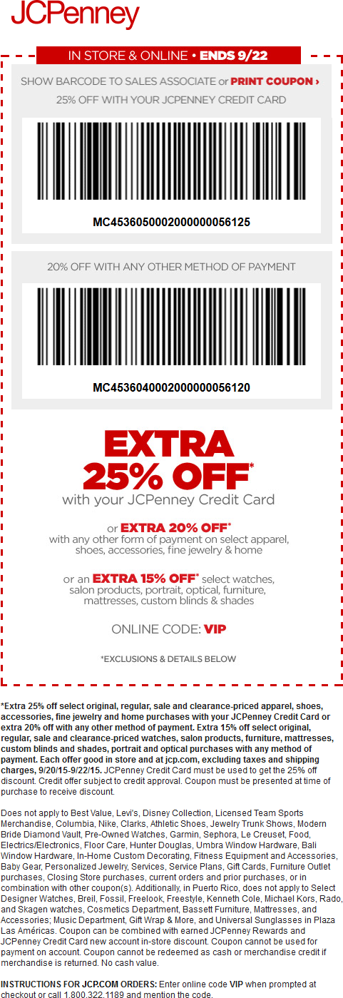 JCPenney Coupon July 2018 20% off at JCPenney, or online via promo code VIP