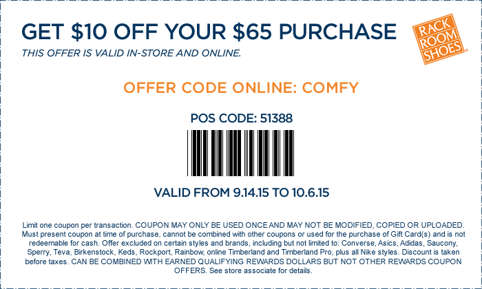 Rack Room Shoes Coupon March 2018 $10 off $65 at Rack Room Shoes, or online via promo code COMFY