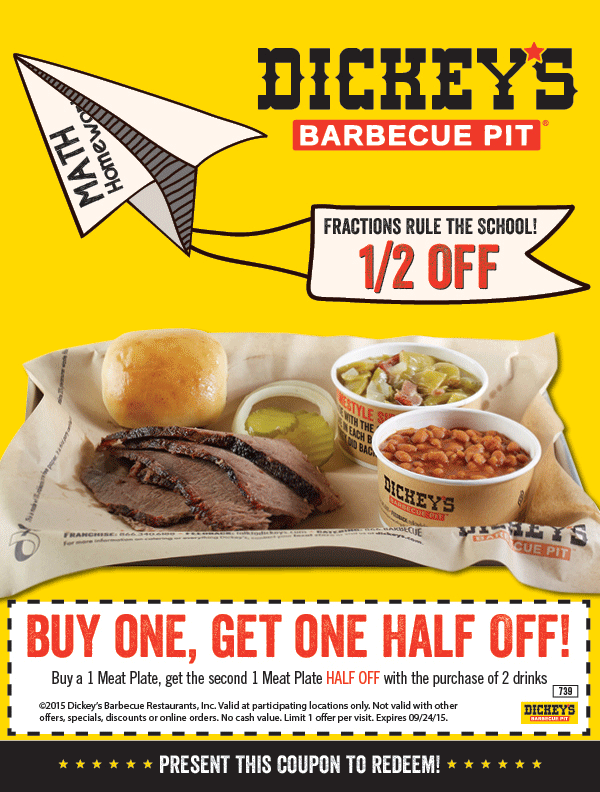 Dickeys Barbecue Pit Coupon July 2017 Second meat plate 50% off at Dickeys Barbecue Pit