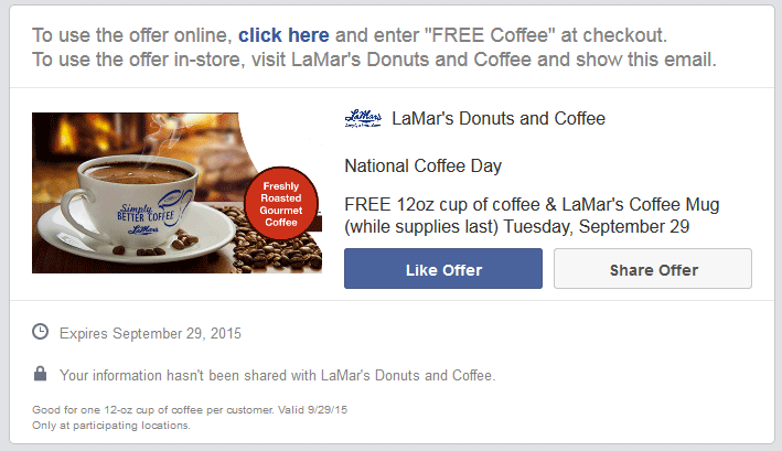 LaMars Donuts Coupon February 2017 Free mug + coffee the 29th at LaMars Donuts