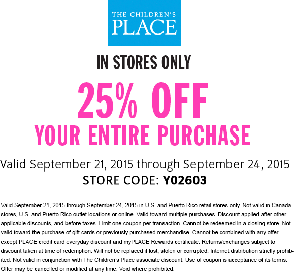 Childrens Place Coupon April 2017 25% off at The Childrens Place, or online via promo code SAVEMORE3