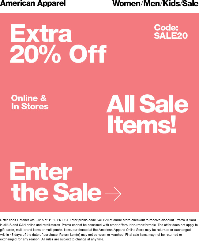 American Apparel Coupon February 2019 Extra 20% off sale items at American Apparel, or online via promo code SALE20