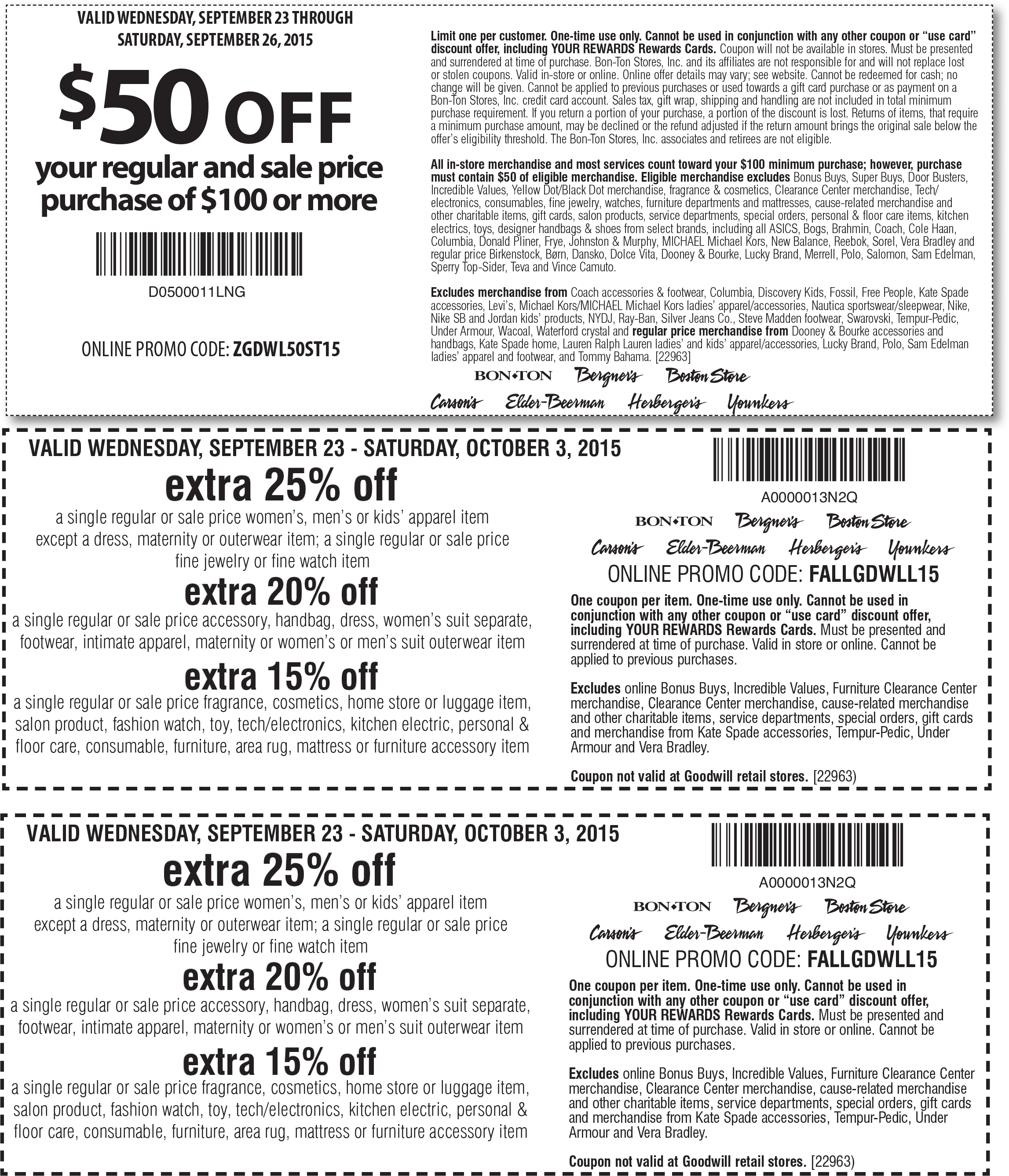 Carsons Coupon December 2016 $50 off $100 & more at Carsons, Bon Ton & sister stores, or online via promo code ZGDWL50ST15