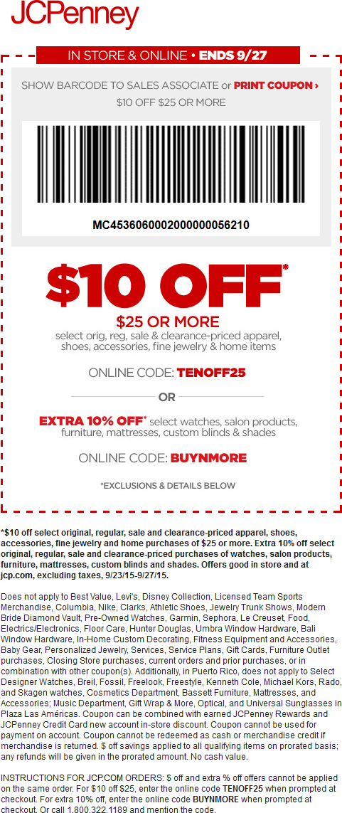 JCPenney Coupon September 2018 $10 off $25 at JCPenney, or online via promo code TENOFF25