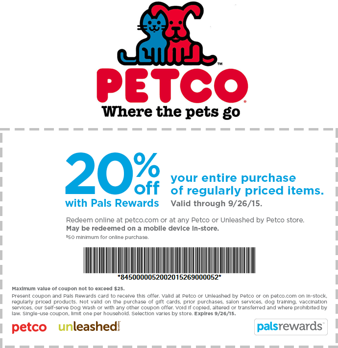 Petco Coupon September 2018 20% off at Petco, or online via promo code bff20