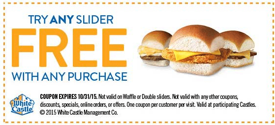 White Castle Coupon October 2016 Free slider with any order at White Castle