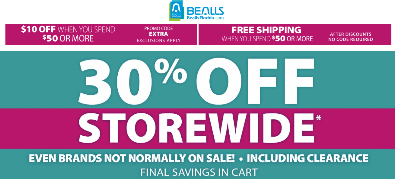 Bealls Coupon October 2016 Extra 30% off everything including clearance at Bealls, ditto online + $10 off $50 via promo code EXTRA