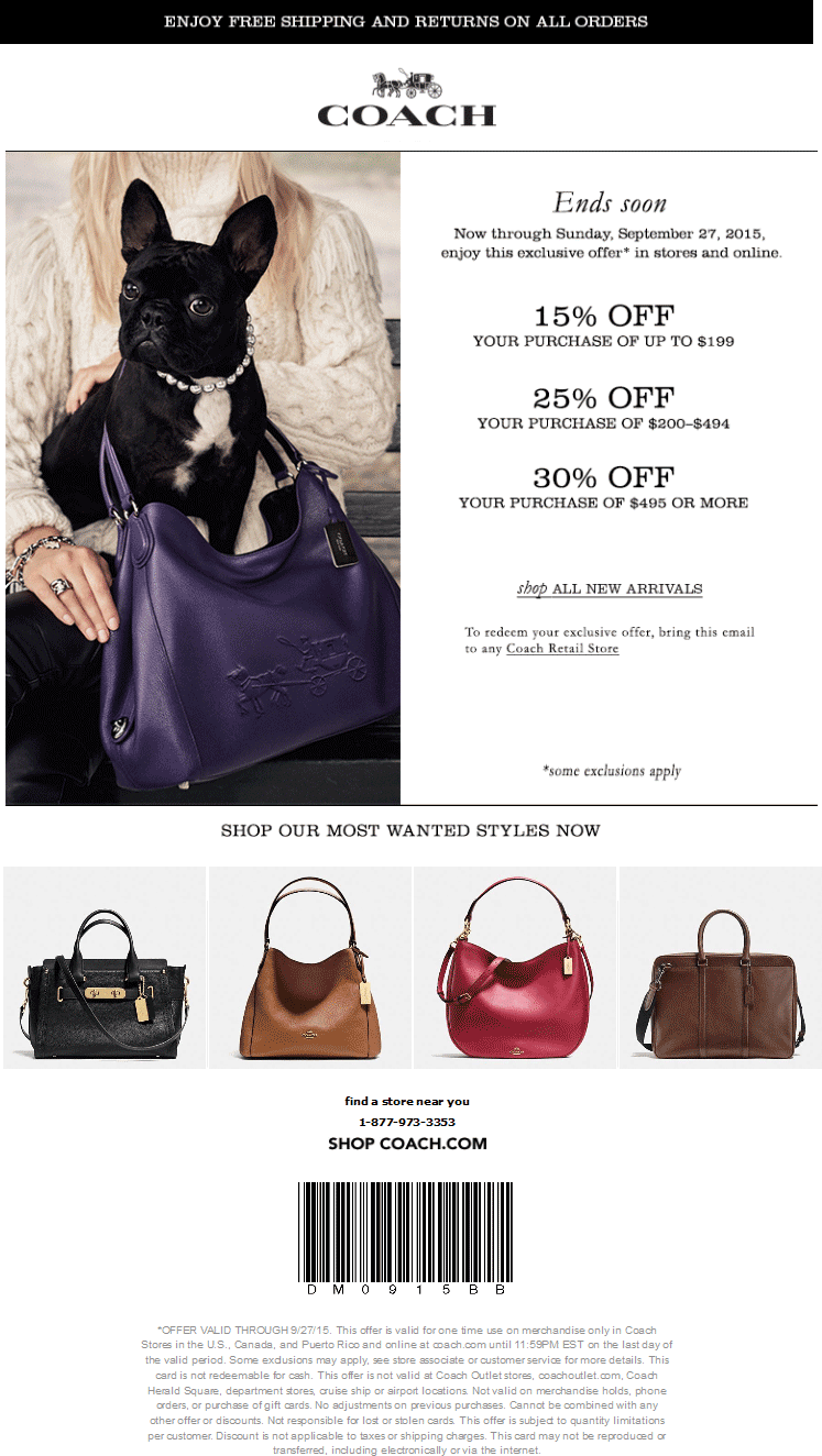 Coach Coupon August 2018 15-30% off at Coach