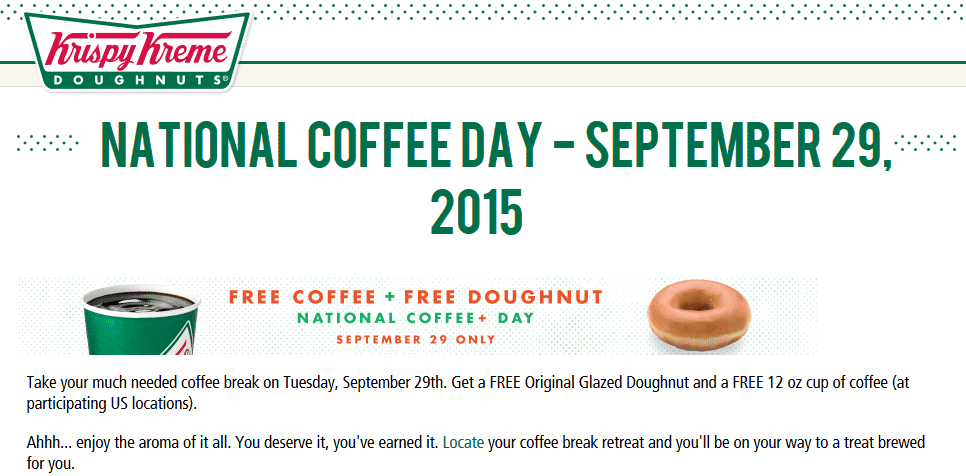 Krispy Kreme Coupon September 2017 Coffee & donut free Tuesday at Krispy Kreme, no purchase necessary