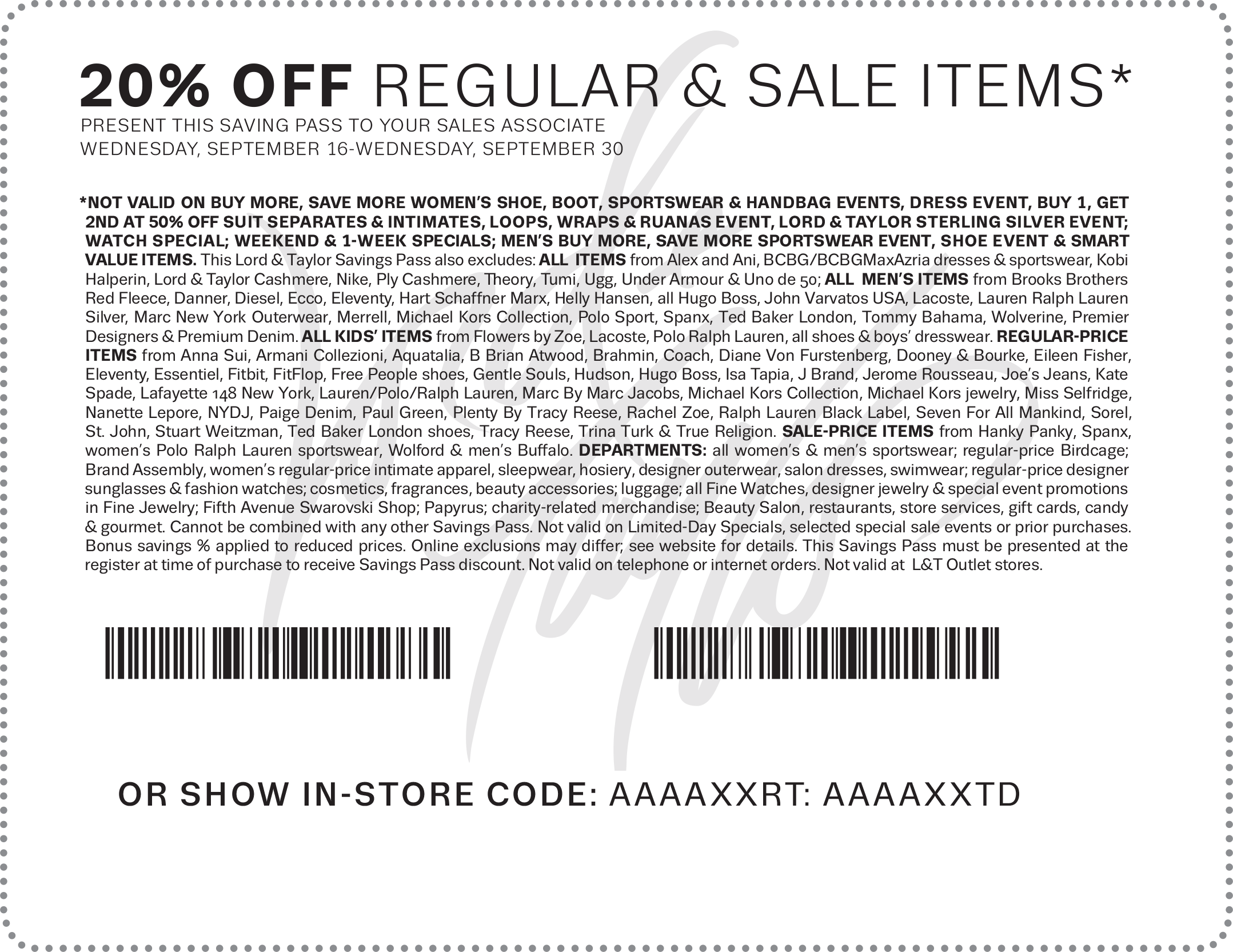 Lord & Taylor Coupon November 2017 20% off at Lord & Taylor, or online via promo code EXTRA