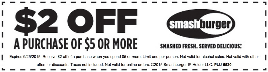 Smashburger Coupon October 2017 $2 off $5 at Smashburger restaurants
