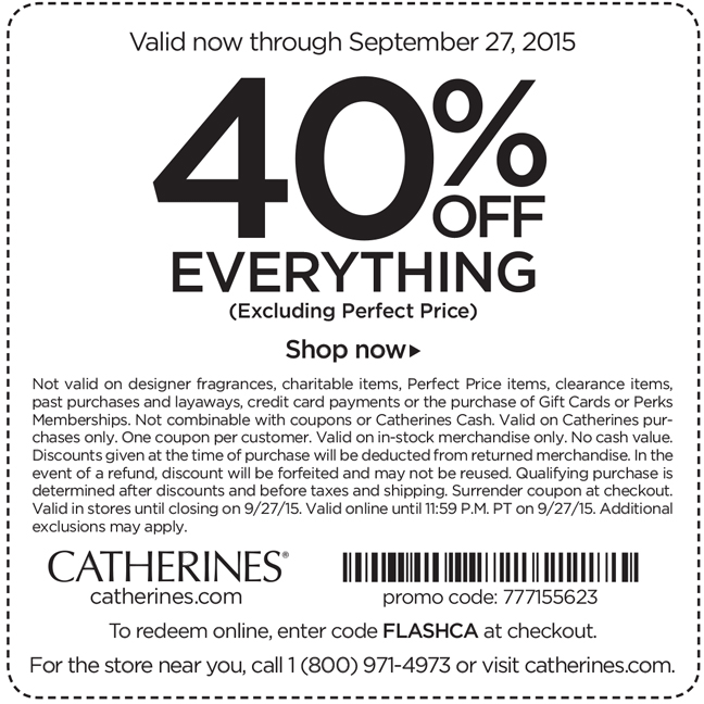Catherines Coupon September 2018 40% off everything at Catherines, or online via promo code FLASHCA