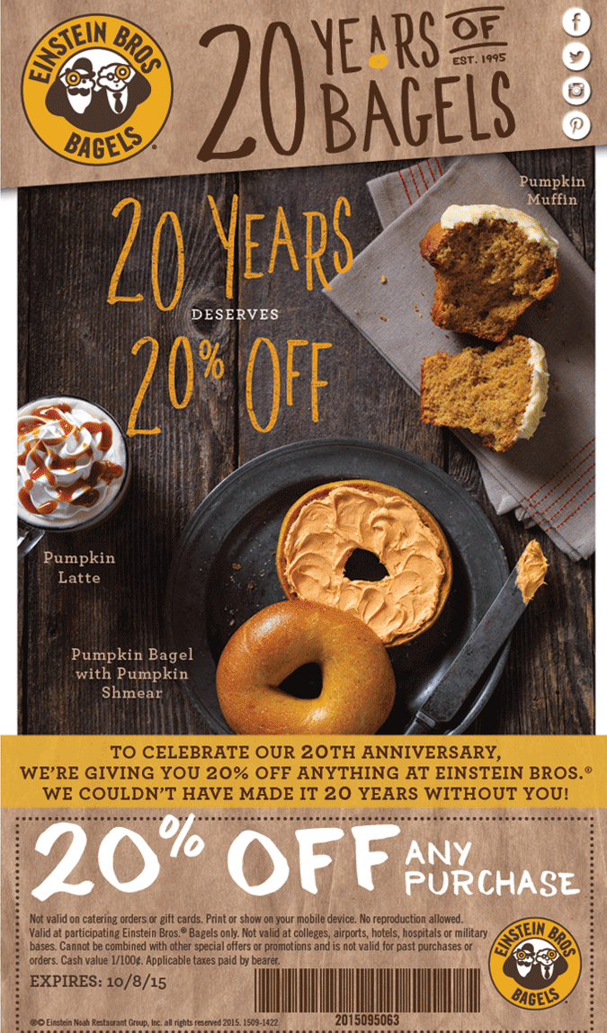 Einstein Bros Bagels Coupon October 2018 20% off at Einstein Bros Bagels