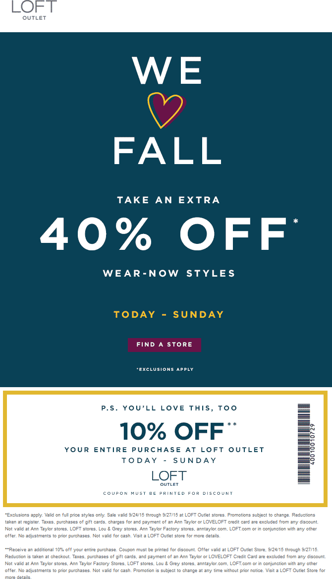 LOFT Outlet Coupon October 2016 Extra 50% off at LOFT Outlet