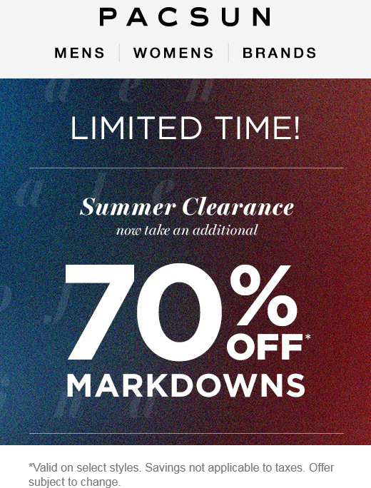 PacSun.com Promo Coupon Extra 70% off clearance at Pacsun, ditto online