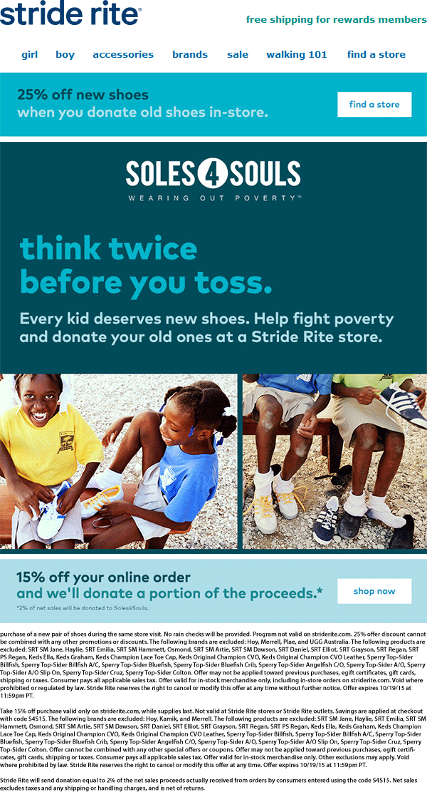 Stride Rite Coupon January 2018 25% off with your old shoes at Stride Rite, 15% off online