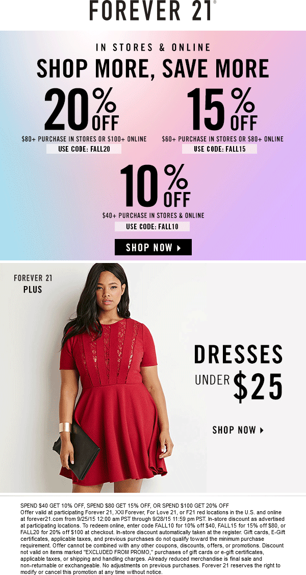 Forever 21 Coupon January 2018 10-20% off $40+ at Forever 21, XXI Forever, For Love 21, or F21 red, or online via promo code FALL10