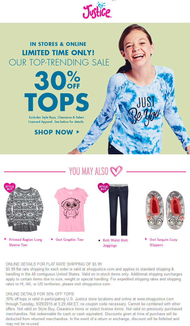 Justice Coupon June 2017 30% off tops at Justice, ditto online