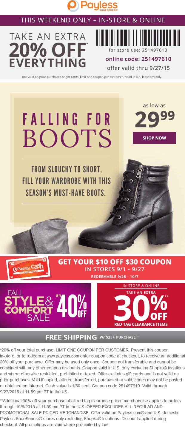 Payless Shoesource Coupon June 2017 20% off everything at Payless Shoesource, or online via promo code 251497610