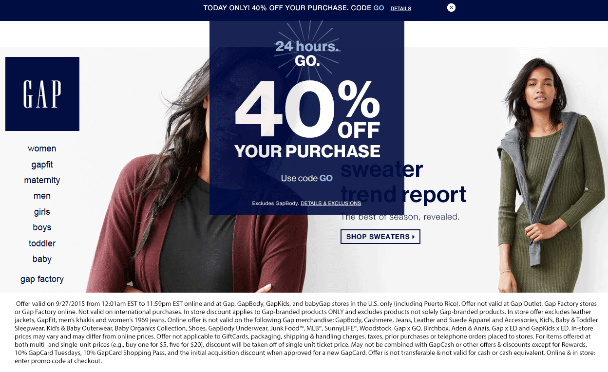 Gap Coupon December 2016 40% off today at Gap, or online via promo code GO