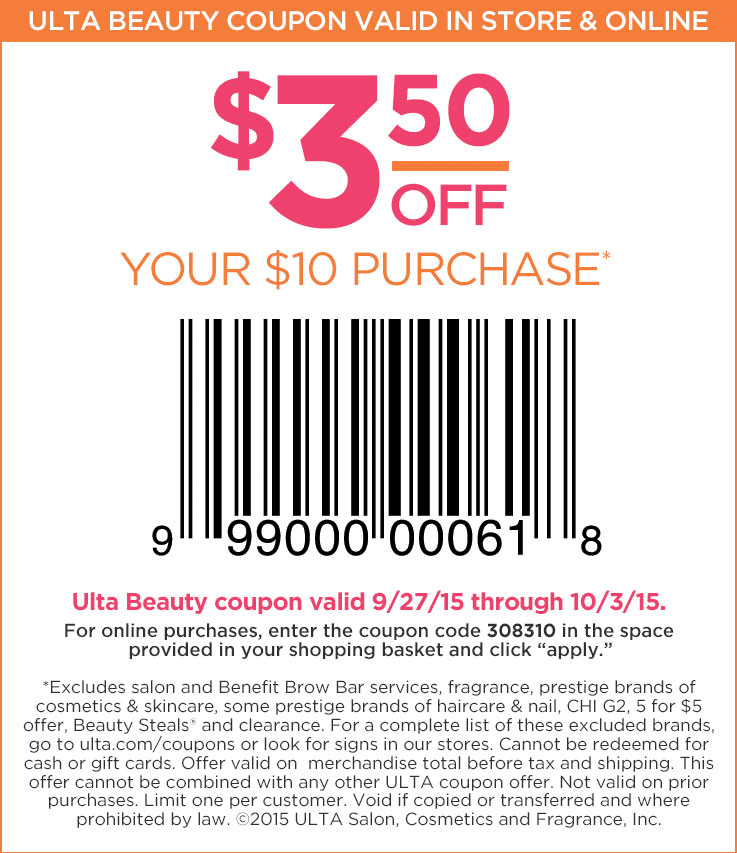 Ulta Coupon March 2017 $3 off $10 at Ulta beauty, or online via promo code 308310