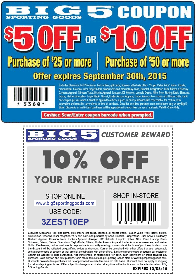 Big 5 Coupon October 2017 $5 off $25 & more at Big 5 sporting goods, or 10% online via promo code 3ZEST10EP