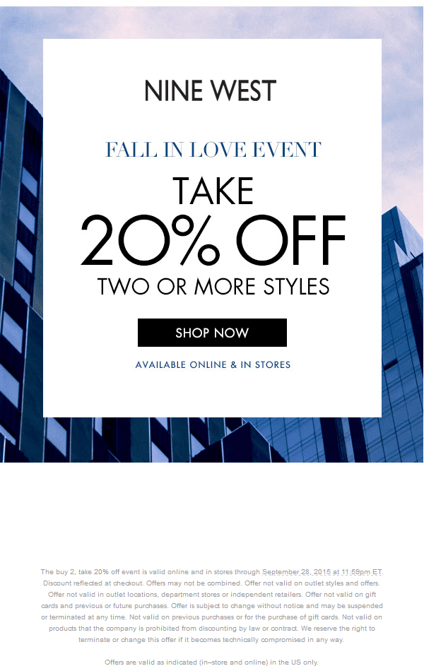 Nine West Coupon November 2018 20% off 2+ items today at Nine West, ditto online