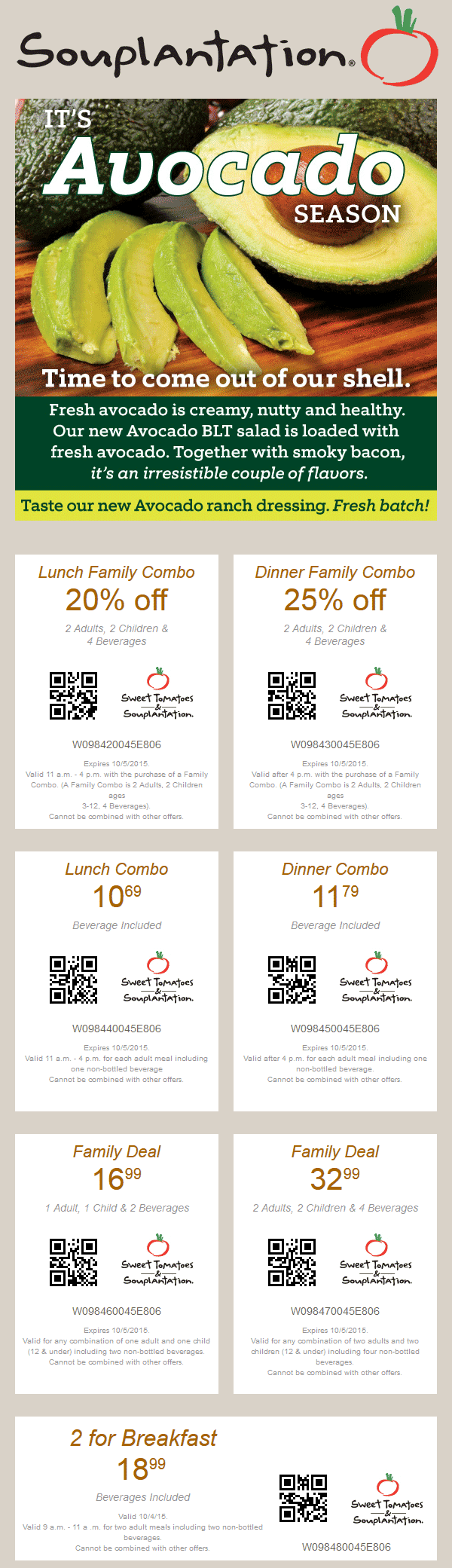 Sweet Tomatoes Coupon February 2019 20% off family lunch, 25% off dinner at Sweet Tomatoes & Souplantation