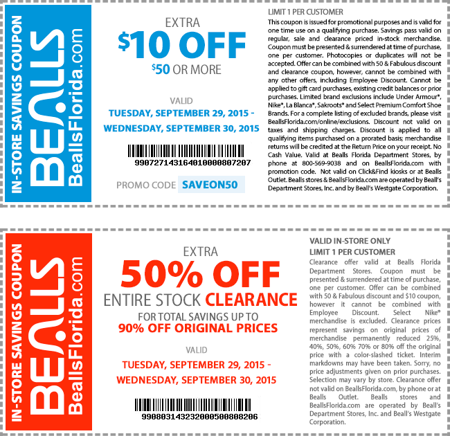 Bealls Coupon January 2018 $10 off $50 & more at Bealls, or online via promo code SAVEON50