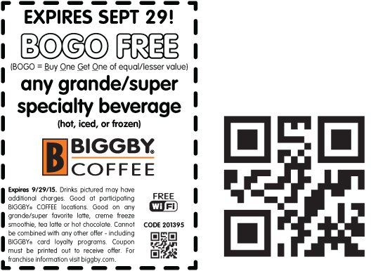 Biggby Coffee Coupon January 2018 Second beverage free at Biggby Coffee
