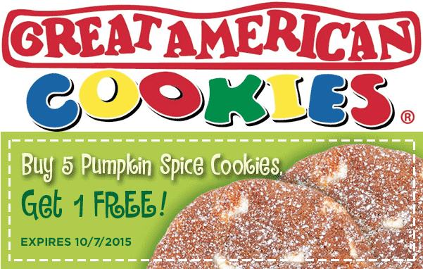 Great American Cookies Coupon July 2017 6th pumpkin spice cookie free at Great American Cookies