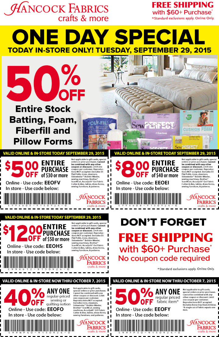 Hancock Fabrics Coupon January 2017 50% off a single item & more at Hancock Fabrics, or online via promo code EEOFY