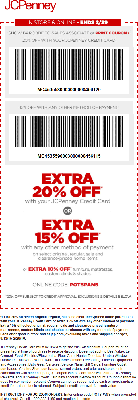 JCPenney Coupon June 2017 15% off home items at JCPenney, or online via promo code POTSPANS