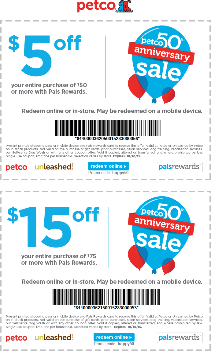 Petco Coupon May 2017 $5-$15 off $50+ at Petco, or online via promo code HAPPY50