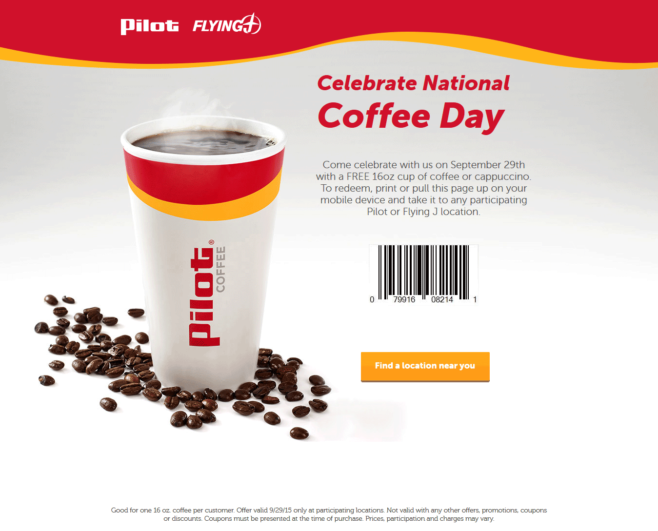 GasStation.com Promo Coupon Free coffee today at Pilot & Flying J gas stations