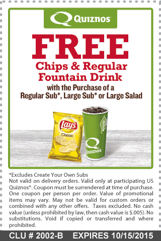 Quiznos Coupon September 2017 Chips & drink free with your sub or salad at Quiznos