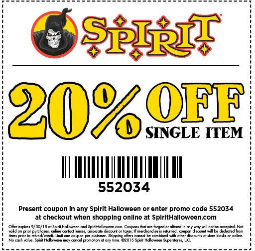 Spirit Halloween Coupon February 2017 20% off a single item at Spirit Halloween, or online via promo code 552034