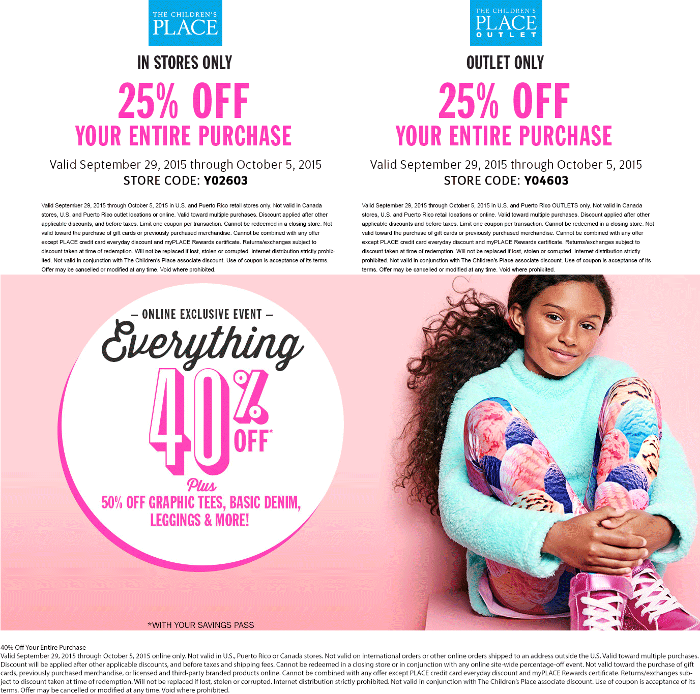 The Childrens Place Coupon March 2018 25% off at The Childrens Place & outlet locations, or 40% online via promo code ONLINE40