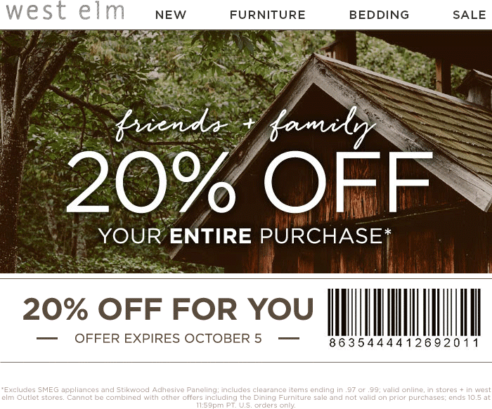 West Elm Coupon February 2018 20% off at West Elm