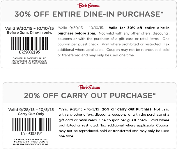 Bob Evans Coupon September 2017 30% off at Bob Evans restaurants, 20% off carry out