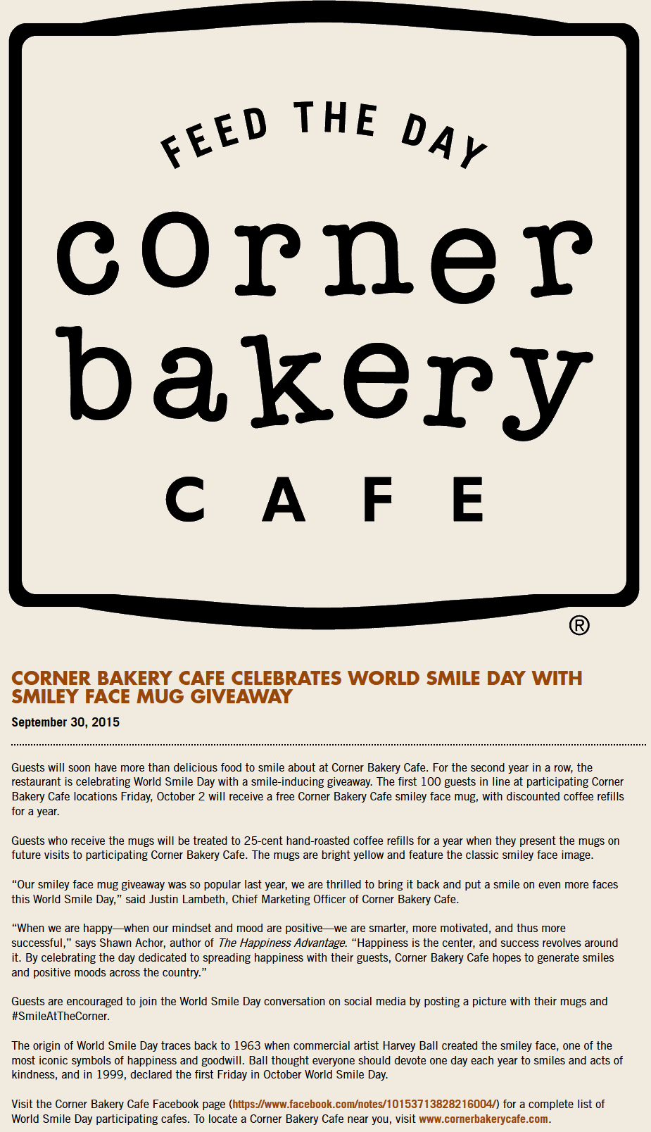 Corner Bakery Coupon September 2017 Free mug and cheap coffee all year to first 100 Friday at various Corner Bakery cafe