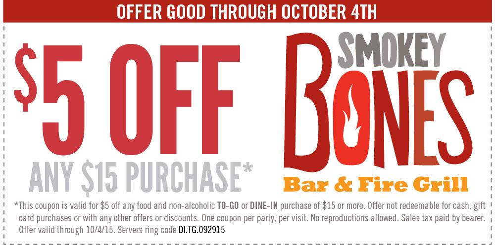 Smokey Bones Coupon August 2019 $5 off $15 at Smokey Bones bar & fire grill