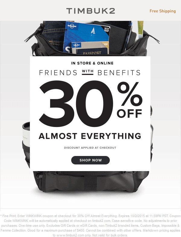 Timbuk2 Coupon September 2018 30% off at Timbuk2, or online via promo code WINKWINK