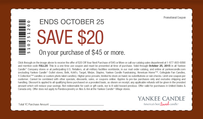 Yankee Candle Coupon June 2017 $20 off $45 at Yankee Candle, or online via promo code FALL20
