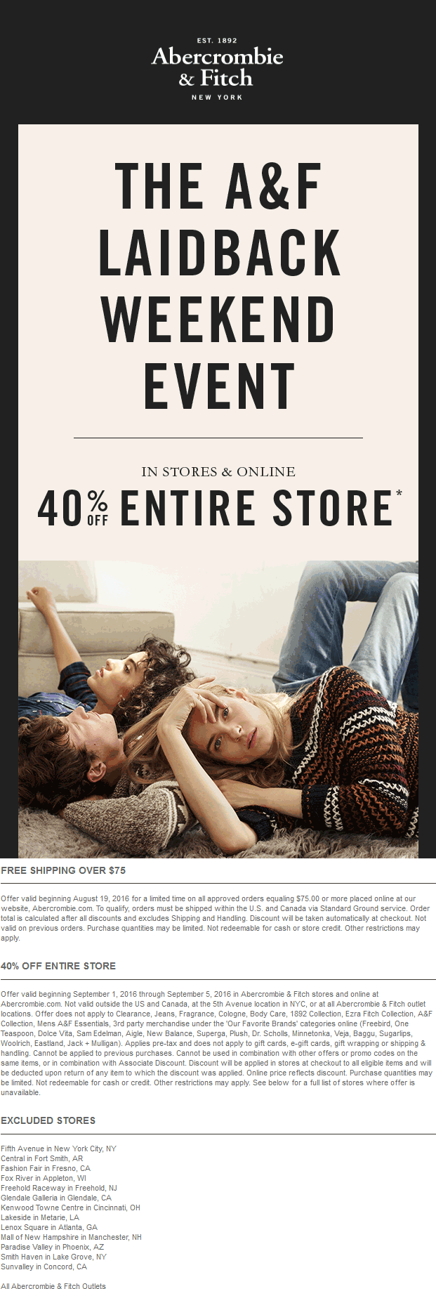 Abercrombie & Fitch Coupon February 2018 40% off everything at Abercrombie & Fitch, ditto online
