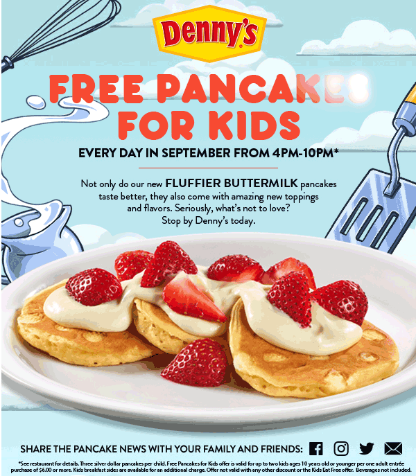 Dennys.com Promo Coupon Free pancakes for kids evenings 4-10p at Dennys