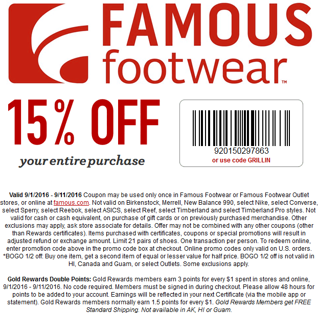 Famous Footwear Coupon March 2017 15% off everything at Famous Footwear, or online via promo code GRILLIN