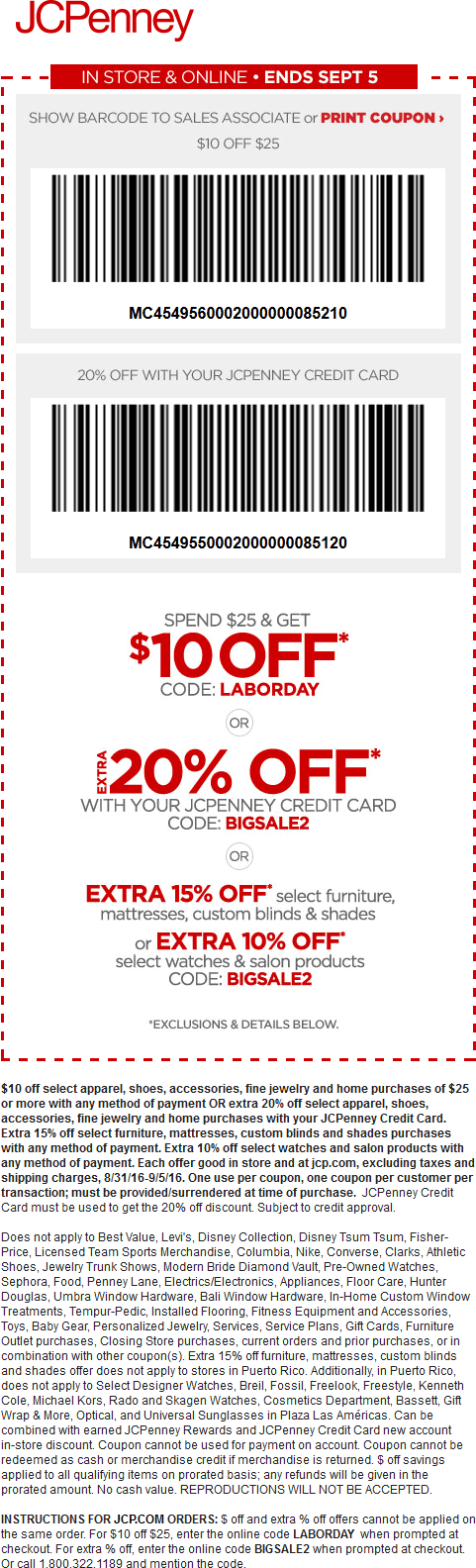 JCPenney Coupon October 2017 $10 off $25 at JCPenney, or online via promo code LABORDAY