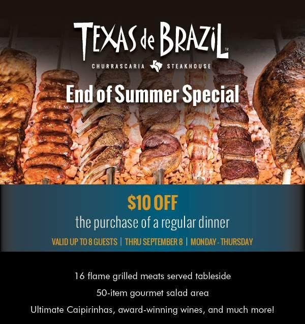 TexasdeBrazil.com Promo Coupon $10 off dinner Mon-Thur at Texas de Brazil steakhouse